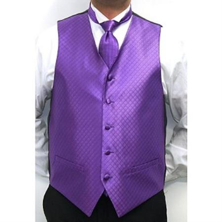Mens Four-piece Dress Tuxedo Wedding Vest ~ Waistcoat ~ Waist coat Set Purple Buy 10 of same color Tie For $25 Each