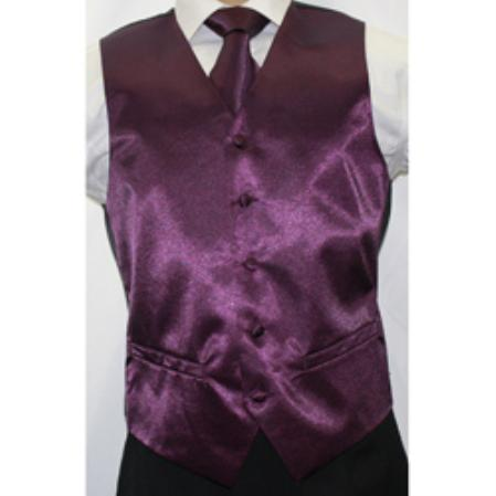 Men's Shiny Dark Purple Microfiber 3-Piece
