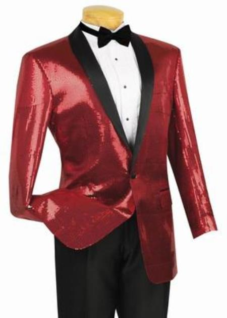 Shiny Sharkskin Metallic Scarlet Red Sequin Formal Sportcoat Jacket