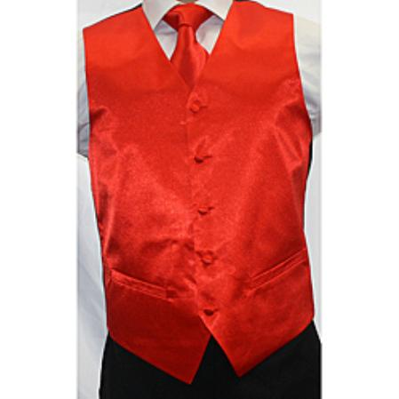 Mens Shiny Red Microfiber 3-piece Dress Tuxedo Wedding Vest