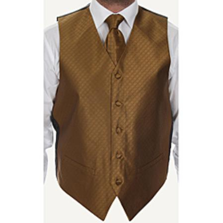 Men's Rust Brown Four-piece Dress Tuxedo Wedding Vest