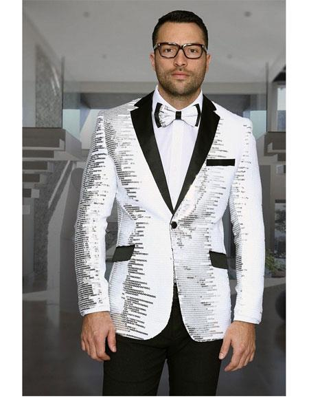 Mens Shiny Sequin 1 Button Notch Lapel White & Black Blazer ~ Black Dinner Jacket