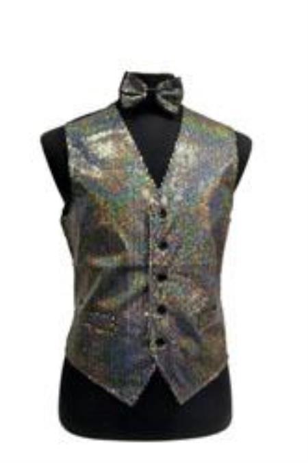 Shiny Sequin Vest/bow tie
