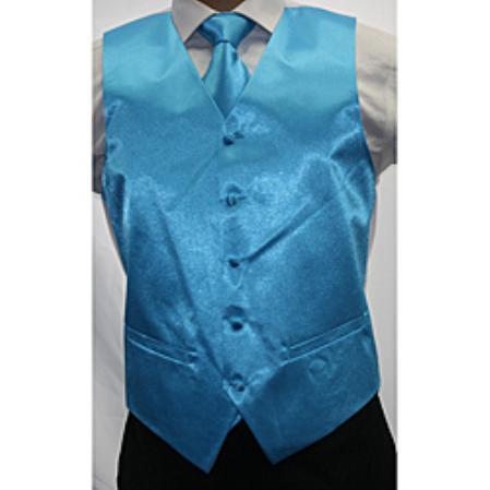 Mens Shiny turquoise ~ Light Blue Stage Party Microfiber 3-piece Dress Tuxedo Wedding Vest
