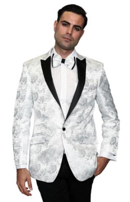 Mens Flashy Fancy Satin Shiny Tuxedo Dinner Jacket Blazer Paisley Sport Coat Silky Satin Stage Fancy Stage Party Dance White/Black
