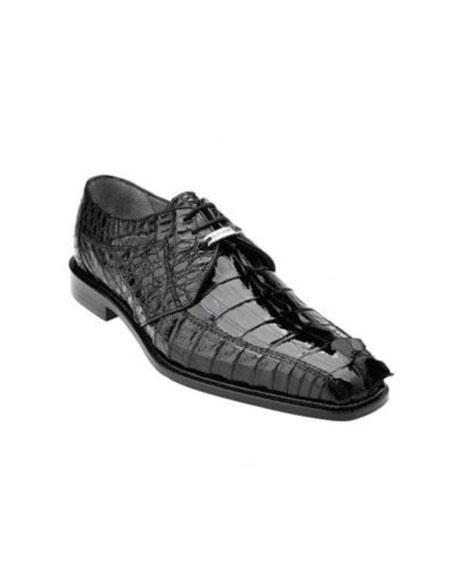 Authentic Genuine Skin Italian Colombo Hornback Crocodile Shoes Black