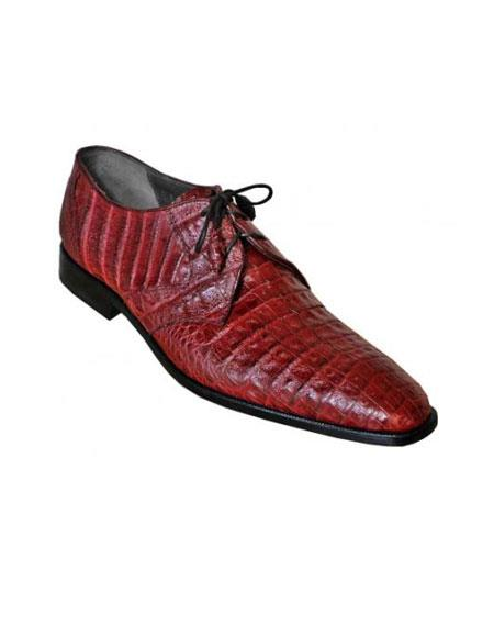 Los Altos Maroon Dress Shoe ~ Burgundy Dress Shoe ~ Wine Color Dress Shoe Color Genuine All-Over Crocodile ~ World Best Alligator ~ Gator Shoe