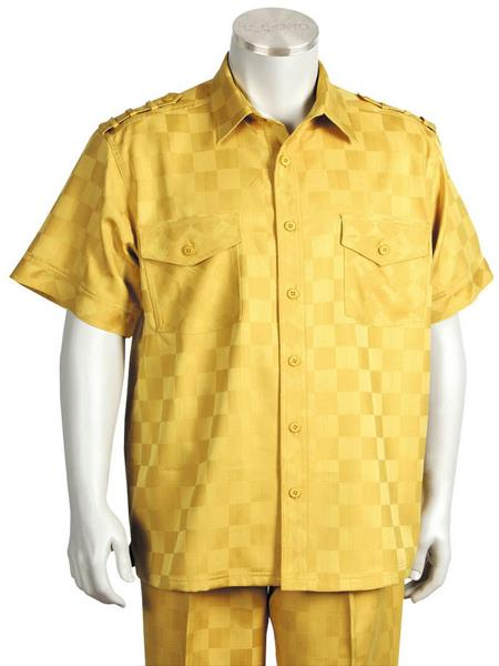 Men's Accent Short Sleeve Casual Two Piece Walking Outfit For Sale Pant Sets Suit Gold