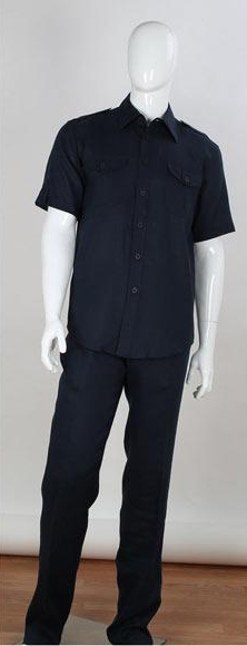 Men's Safari Style 2 Piece Short Sleeve Dark Navy Shirt With Cuffed Pants Double Chest Pockets Linen Casual Two Piece Mens Walking Outfit For Sale Pant Sets Suit
