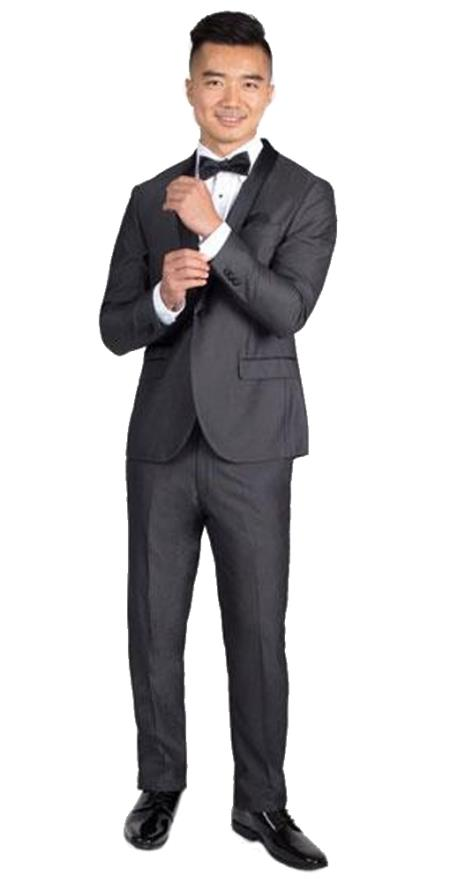Men's Side Vents Charcoal Slim Fit Tuxedo with Black Shawl Lapel  Slim Fit Black Tuxedo - Skinny Fit Tuxedo
