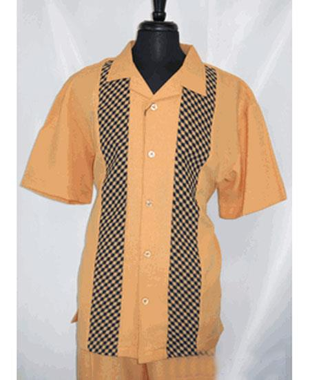 Men's 5 Buttons Short Sleeve Side Vents Rust Shirt Walking Leisure Suit