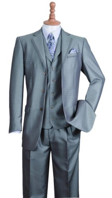 Mens Silver Three Buttons Style suit Notch Lapel Fashion Cheap Priced Business Suits Clearance Sale Edged Jacket w/ Pants Vest Set