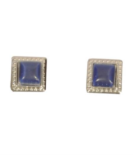 Buy CF034-S Ferrecci Silver/Blue Favor Cuff Links 2pieces Set Fancy Gift Box