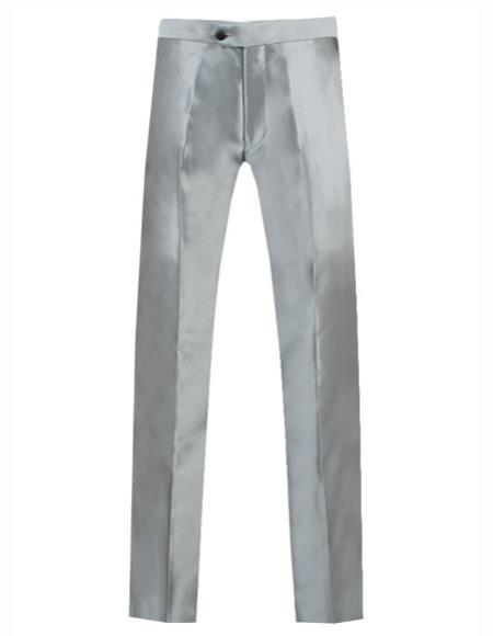 Mens Silver Grey ~ Gray Shiny Sharkskin Pant Slacks / Tuxedo Flashy Looking