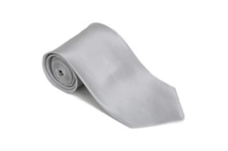Silver 100% Silk Solid Necktie With Handkerchief