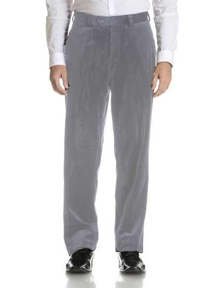 SM2287 Silver Men's Velvet Fabric Modern Fit Flat Front Pant