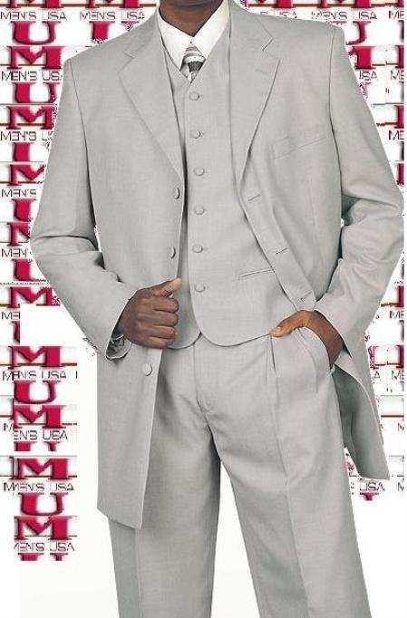SKU# RF76 Mens Silver Gray 4 Buttons 34 Inch Jacket Long Suits Vested Covered Buttons Wide Leg Pants $1
