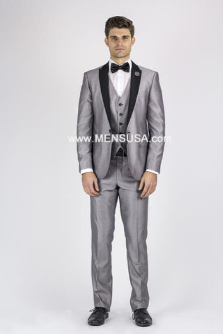 Mens Silver Grey Tux ~ Gray Tuxedo Black Lapel Wedding Gr