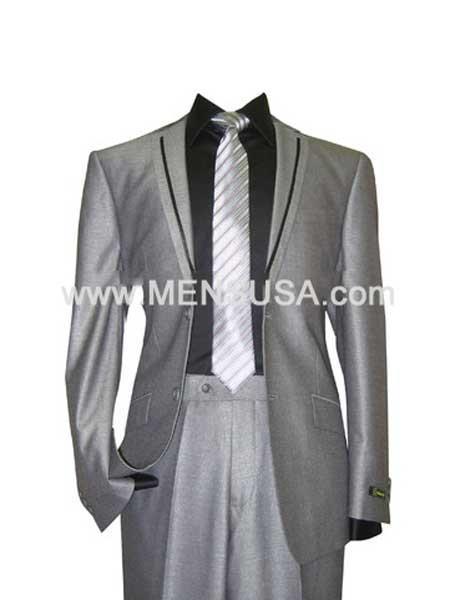 Men's Gray Tuxedo Silver Grey Tux ~ Black Lapel Wedding Groom Suit