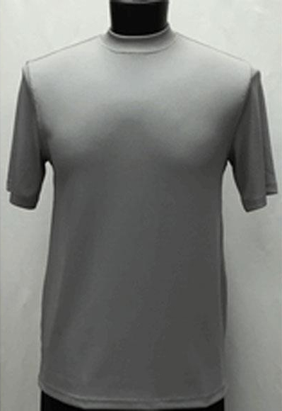 Men's Silver Classy Mock Neck Shiny Short Sleeve Stylish Shirt