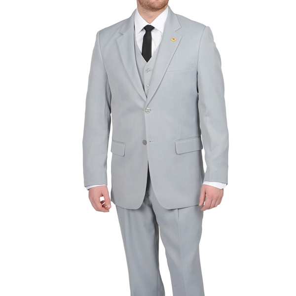Mens Three Piece Suit - Vested Suit Mens Silver Gray ~ Grey Two-Button Vested 3 Piece Suit