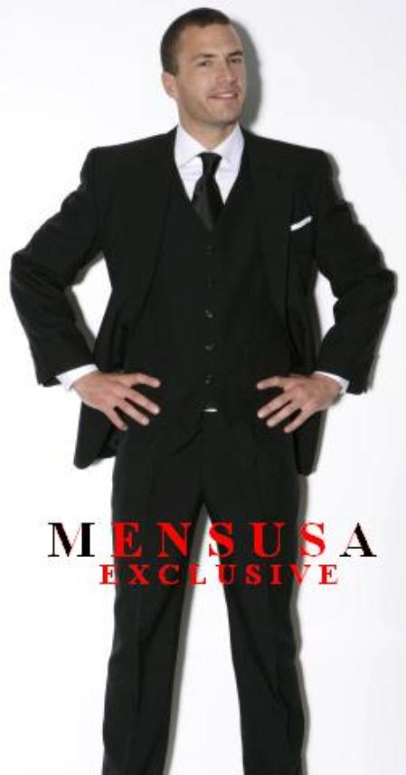 Mens Single Breast 3 Buttons Suits Super Light Weight Viscose~Rayon Fabric White Shirt and Black Tie 3 ~ Three Piece Suit