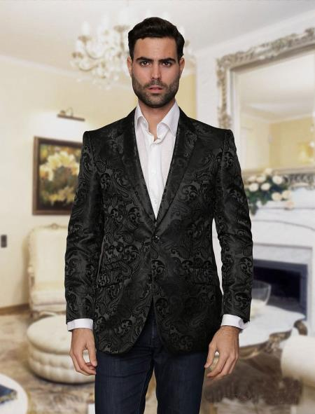Alberto Nardoni Brand Mens Big and Tall Cheap Priced Designer Fashion Dress Casual Blazer On Sale Black Blazer Sport coat Jacket Tuxedo Looking! Paisley floral Pattern