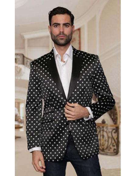 Mens Black & White or Navy or Burgundy or Royal Polk Dot Tuxedo Dinner Jacket Blazer Sport Coat Outfit