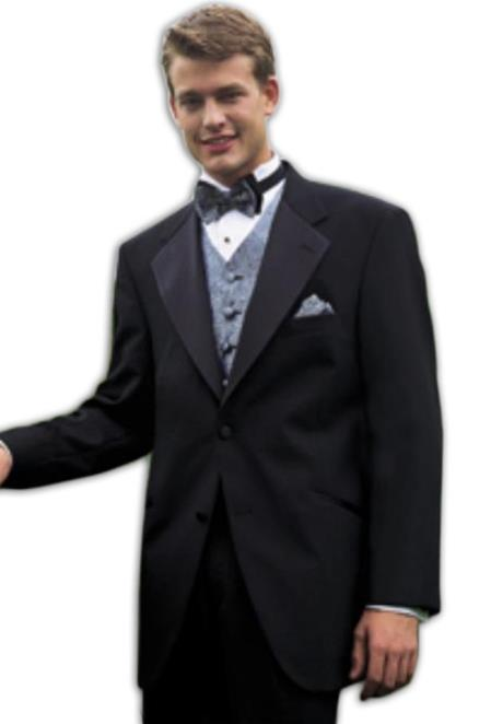 Tuxedo Package Combo ~ Combination Super 140'S Wool 2 Button Tuxedo Suit + Your choice of Any Color Vest, Shirt, Tie