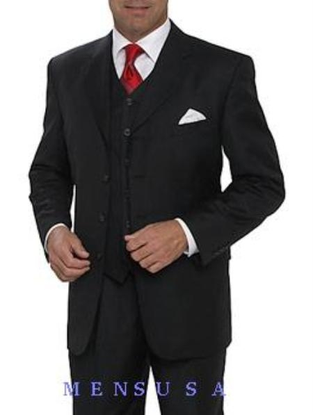 SKU#T644TR High Fashion single-breasted Black Available in 3 Button Style Jacket Vested 3 Piece three piece suit