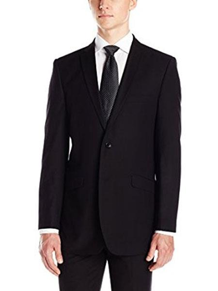 Men's Notch Collar Tonal Stripe Slim Fit Micro Tech Black Suit Jacket