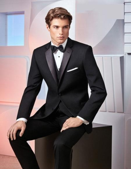 Men's  2 Button Black Classic Fit Peak Lapel Tuxedo