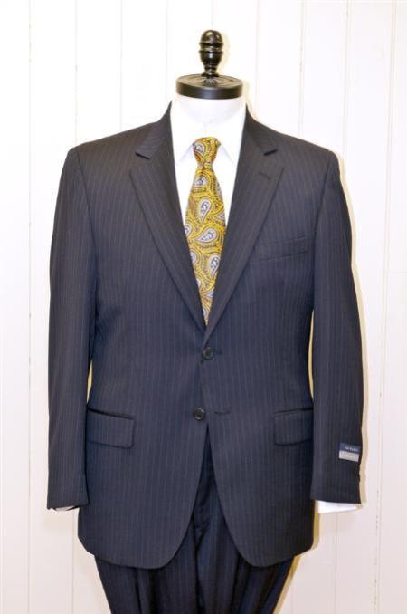 SKU#KA1246 2 Button Single Breasted Wool Suit Navy Blue Stripe ~ Pinstripe