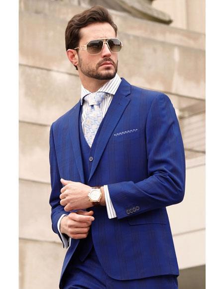 Buy AP367 Mens Blue Button Closure Plaid Pattern Single Breasted Notch Lapel Fashion Suit