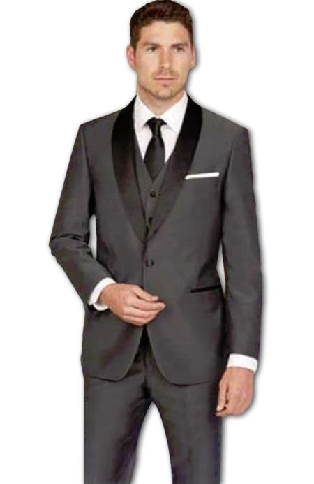 Men's Shawl Lapel Slim Fit Dark Grey Sharkskin Vested Tuxedo Suit