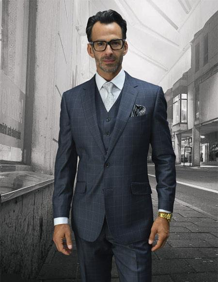 Mens Statement Suits Clothing Confidence Plaid Grey 2 Button Single Breasted Fine Brands Best Italian Style Cut Suits