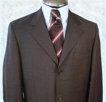 SKU# JW34 Mens Single Breasted Italian Dress Dark Brown Double Vent  Super 140s Wool $179