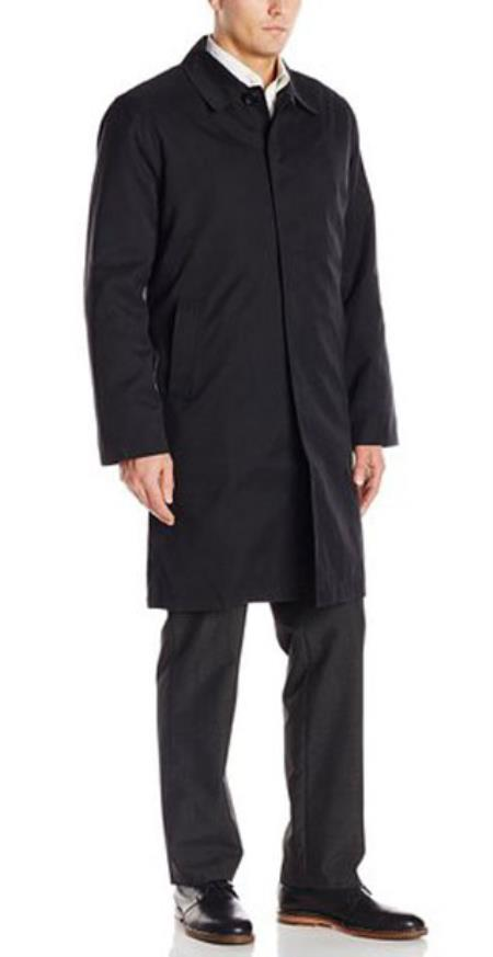 Mens Andre Lanzino Removable Liner with Single Breasted 3/4 Raincoat Jacket Black