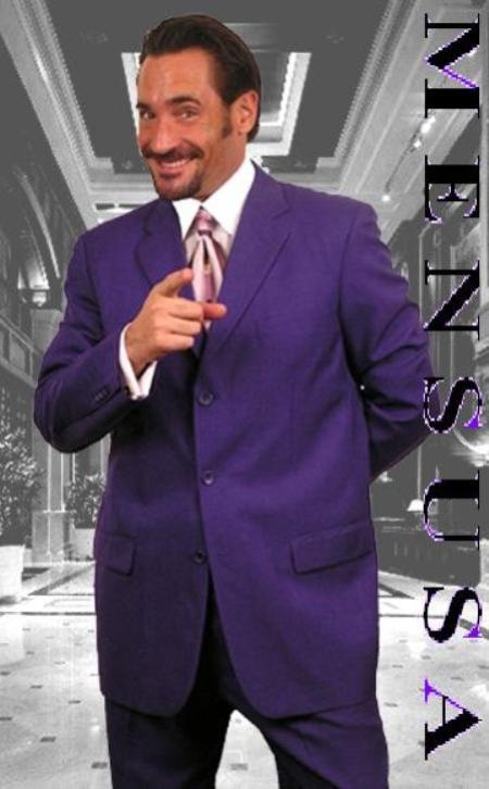 Purple Single Breasted 3 Button Men Dress Suits