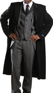 Mens Tony Blake Classic Full Length Single Breasted Fashion Top Coat Black