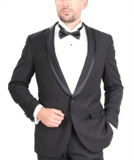 Slim Fit Single Button W/Satin Trim Tuxedo Black Skinny Tapered Fit