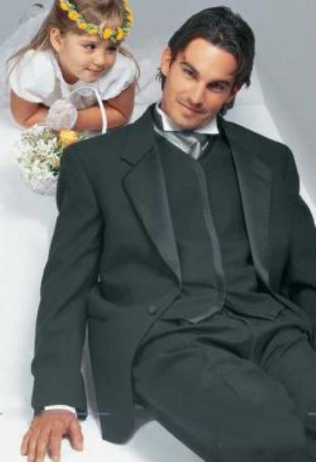 Big and Tall or Extra Long Tuxedo Suit / Jacket With Conte 1 Button Notch Wedding / Prom Formalwear Tuxedo Black