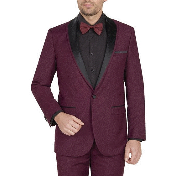Mens 1 Button Black and Burgundy ~ Wine ~ Maroon Color Tuxedo Peak Lapel Suit Dinner Jacket Black Lapel
