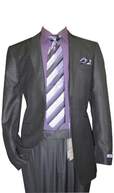 1 Button Peak Lapel Sharkskin Charcoal Wool and Silk Blend Flat Front Fitted Suit