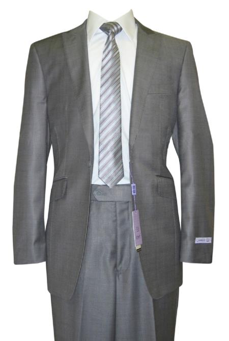 SKU#GM67 1 Button Peak Lapel Grey Sharkskin Wool and Silk Blend Flat Front Fitted Suit