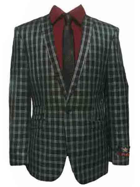 men's 1 button green ~ blue ~ grey peak lapel slim fit checked window pane plaid blazer