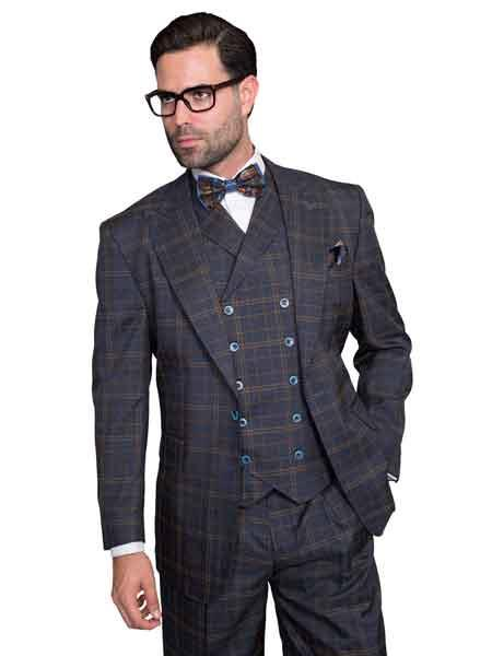 Mens Plaid Window Pane