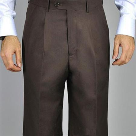 Brown Single Pleat Pants