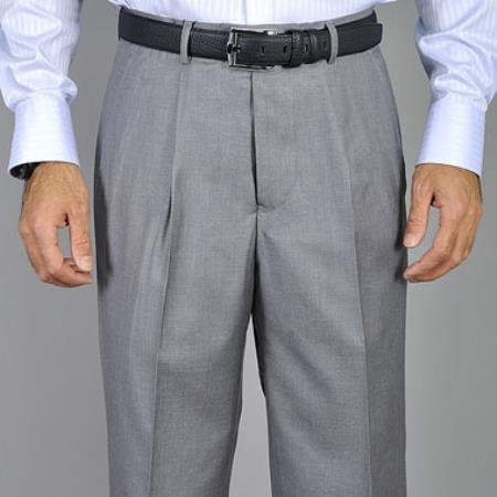 Mens Light Grey Single Pleat Pants unhemmed unfinished bottom