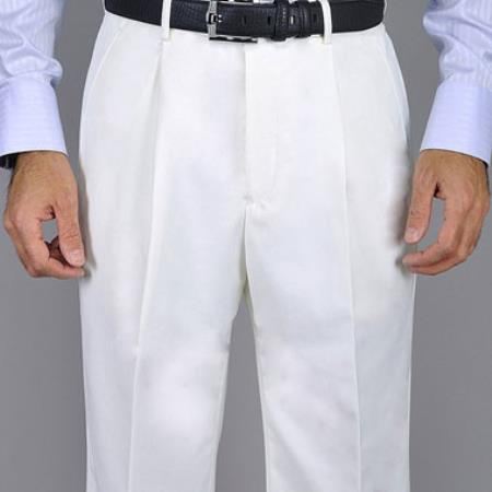 KA8880 Men's White Single Pleat Pants